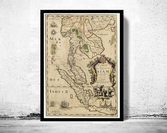 Old Map of Thailand, Old Siam 1686