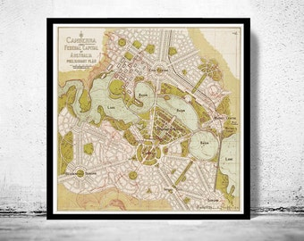 Vintage Map of Canberra City , Australia Oceania 1913