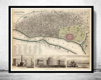 Old Map of Calcutta Kolkata, India 1842 Antique Vintage