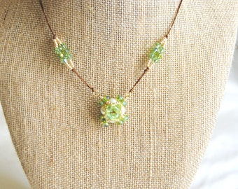 Green and Gold Beaded Pendant Necklace