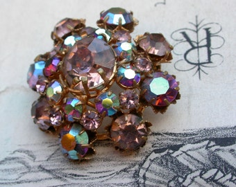 Magnificent french vintage rainbox rhinstone  crystal brooch faceted cut large gold ornate frame floral gold brooch purple pink color