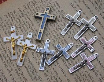 French Vintage cross lot 9 crucifix in silver tone metal lucite vintage pendant charms blue white gold pink singed France
