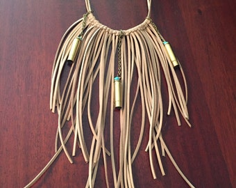 Beautiful Fringe Necklace with Bullet Shell Casings!!