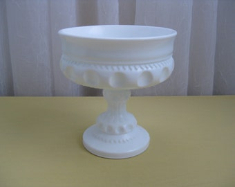 Vintage King's Crown Thumbprint Milk Glass Compote Pedestal Dish Indiana