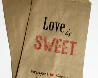 Love is Sweet Candy Buffet Bags, Wedding Candy Favor Bags, Candy Bar Bags,