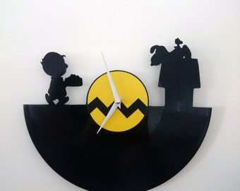 Charlie Brown And Snoopy Vinyl Record Wall Clock