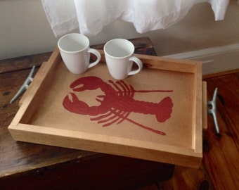 Lobster Distressed Wooden Tray || 2 stains || 3 colors