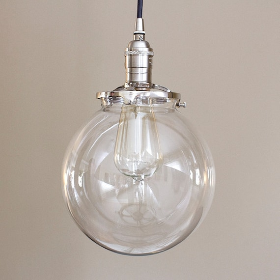 Pendant Light Fixture 8 Round Clear Glass By OldeBrickLighting