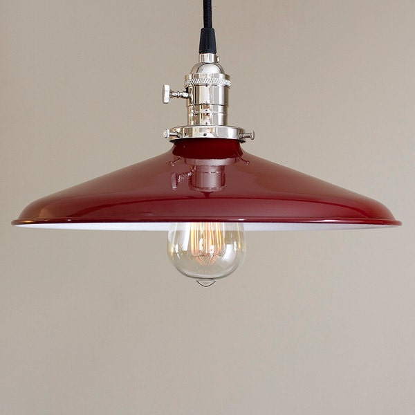 Pendant Light Fixture Red 14 Metal Porcelain Enamel