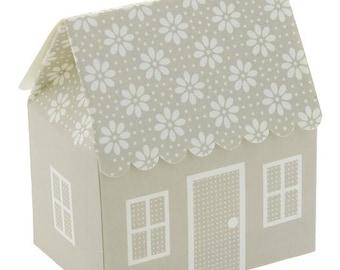 box beige cottage for wedding favors communion confirmation DIY 6x4x7