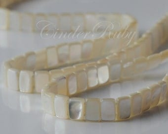 """Double Drilled White MOP Rectangle Beads;Double Drilled White Shell Rectangle Connector Beads;5*7 mm,15.5"""""""