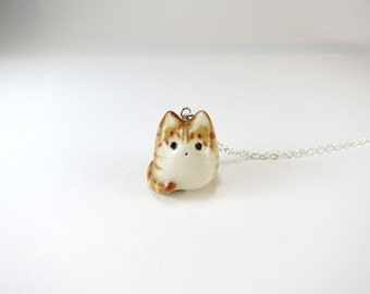 Orange Tabby Cat Necklace Tabby Jewelry Ceramic Cat Charm Cat Jewelry Gift Fat Cat Necklace Porcelain Animal Pendant Orange Stripe Cat Cute