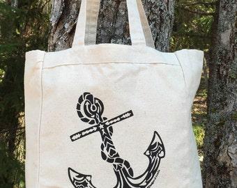 Anchor Tribal Tattoo Design Grocery Tote Bag -  Screen Printed Original Design