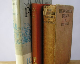 Vintage Hardback books HG Wells The Passionate Friends Tono Bungay Joan & Peter Instant library collectible novels romance satire biography