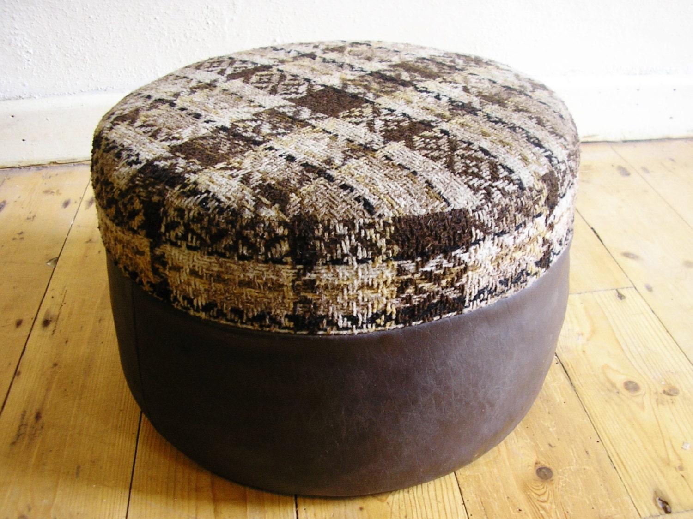 Ottomans Sherborne Ottoman Large: Vintage Sherborne 1950s Foot Stool Cushion Ottoman Pouffe