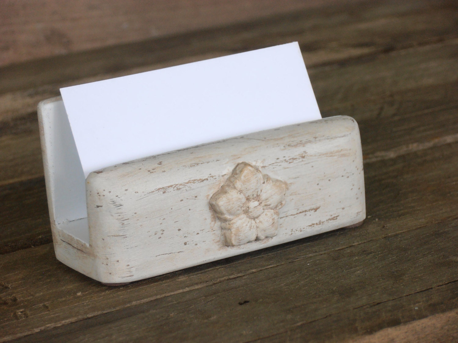 Shabby Antique White Business Card Holder by WileWood on Etsy