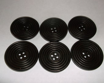 6 pc. Large Wood Round Buttons 40mm - Brown