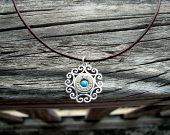 Sleeping Beauty Turquoise Necklace- Sterling Silver Pendant- Brown Leather Cord Necklace- Bullet Necklace- Bullet Jewelry- Ammo Necklace