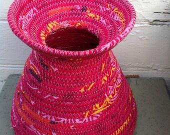 Magenta Fabric Vase or Coiled Basket