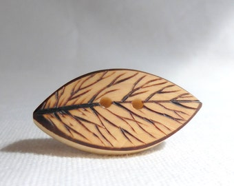 "Rustic, Pyrography Buttons/ Natural Wood Buttons, Eco Friendly, Extra Large Wooden Button 1.5"" or 38mm  2 pce"