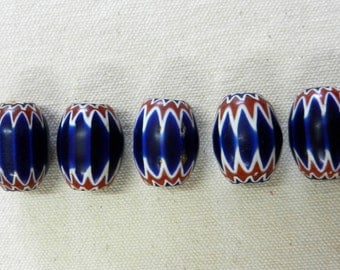 Hand Made Antique Italian Chevron Glass Beads In Red, White And Blue From The African Bead Trade
