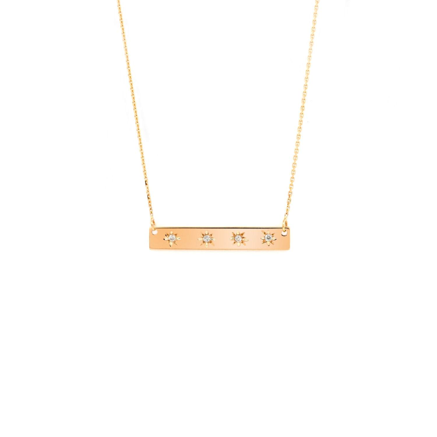 necklace gold necklace 14 karat gold bar necklace