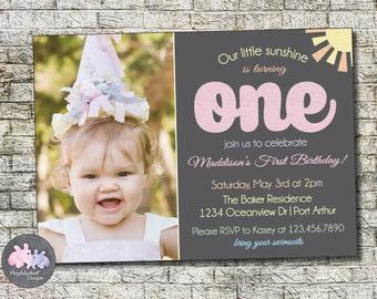 You Are My Sunshine Birthday Invitation, Rainbow Girl Birthday Party Invitation, First Birthday, Second Birthday, Photo Invitation Printable