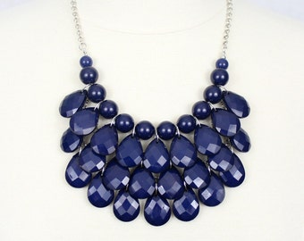 Navy Multi Layered Necklace Chunky Necklace Statement Necklace Teardrop Necklace Blue Bubble Necklace and Earrings Set