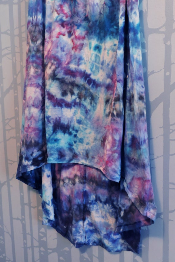 tie dye high low hem maxi skirt in shades of by