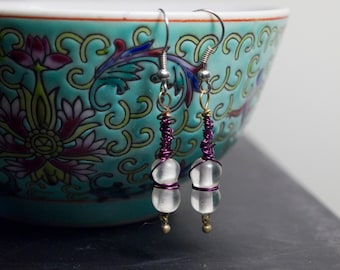 Purple Wirewrapped Dangle Earrings with Clear/White Beads