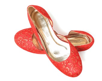 Custom Made Red Lace Wedding Flats, Ballerina Flats Custom Made, Custom Made Bridesmaid Shoes, Wedding Flats, Bridesmaid Shoes, Bridal Shoes