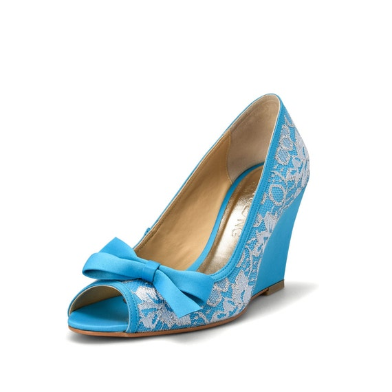 items similar to something blue wedding wedges blue lace