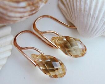 Rose Gold Champagne Swarovski Earring Golden Crystal Earrings 24k Gold Cream Vanilla Swarovski Briolette Golden Shadow Light Topaz Rose Gold