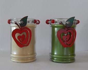 Apple,decor,Mason Jar,topper,apple candle decor,candle gift,apple kitchen decor,canning jar decor,apple gift tag,mason jar decor,metal apple