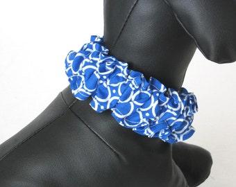 XXS-Medium - DOG SCRUNCHY- Blue Puppy Scrunchy - Tiny Dog Bandana - Boy Dog Scrunchie - Dog Neckwear - Dog Collar Cover - Dog Scarf