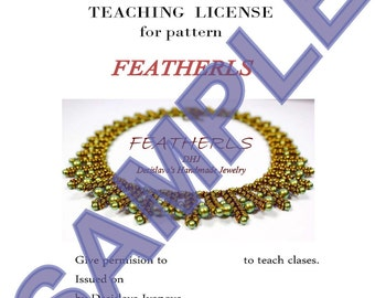 teaching license  Certificate for teaching beadweaving designs and jewelry making tutorials