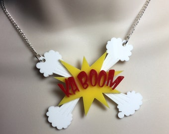 Layered laser cut acrylic 'KA BOOM' explosive comic book necklace