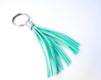 Mint suede tassel keychain or purse charm