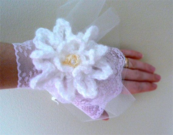 Lotus Flower Crochet gloves. Handmade bridal lace and crochet fingerless gloves- Water lily crochet gloves- Weddings ,fashion accessories.