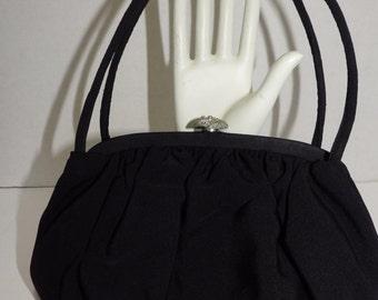 Vintage Evening Bag Black Fabric Rhinestone Clasp Satin-Lined Change Purse
