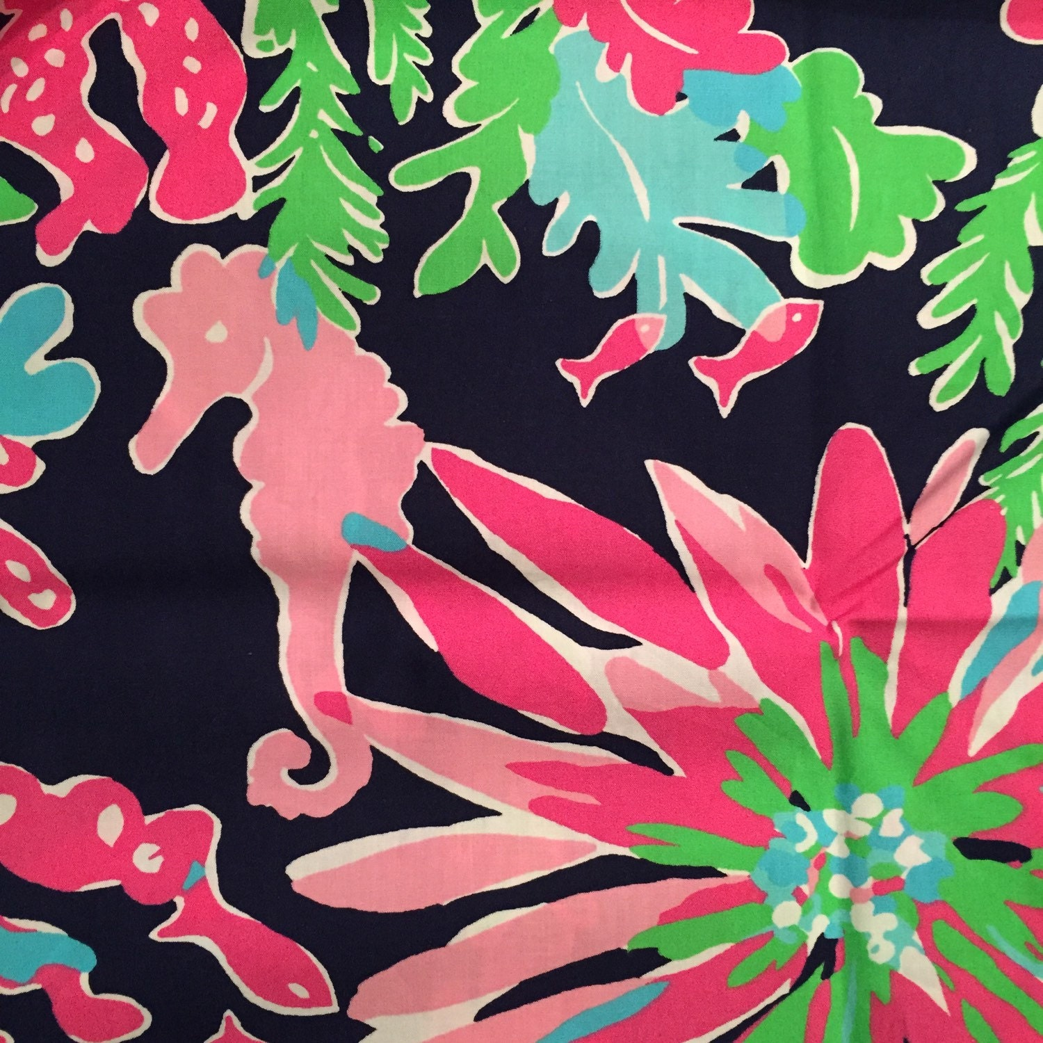 Lilly Pulitzer Fabric 3 Square Patches Of Lilly Pulitzer Fabric In Sippin N Trippin