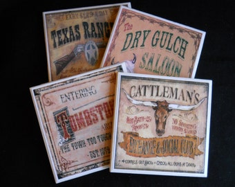 Wild West Western Coasters Ceramic Tile Coasters Old West Home Decor