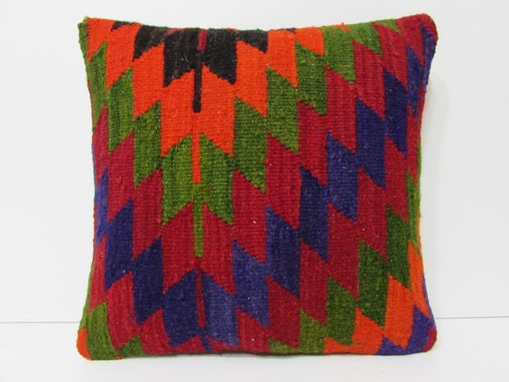 Orange Throw Pillows For Bed : HAND WOVEN orange decorative pillow bed sofa throw pillow blue