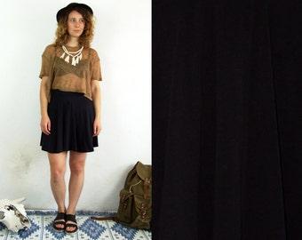 90's vintage women's cotton black mini high waisted skirt