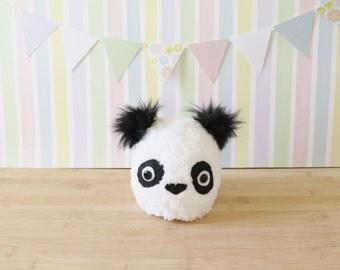 White Panda Bear Baby Hat - White Baby Beanie - Panda baby knit hat - Ultrasoft white panda hat for baby