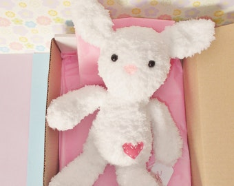 White Bunny Plush toy - Knitted bunny doll - White Bunny Stuffed Toy