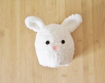 Fluffy White Baby Bunny Hat - White Bunny Beanie for baby - Bunny baby hat - Furry white bunny hat for baby