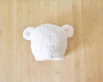 Fluffy Baby Bear Hat - White Baby Bear Beanie - Brown Bear baby hat - Furry bear hat for baby - Choice of color