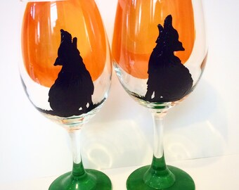 Howling Wolves Painted Wine Glasses