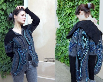 M/L Gray and Blue Crochet Sweater Freeform Crochet Sweater Cardigan Crochet Top Lace Sweater Unique Crochet Art To Wear Top